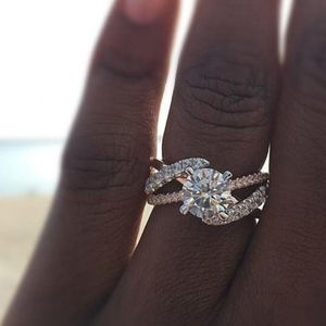 PREVIEW Rose Gold Full Crystal CZ Engagement Ring